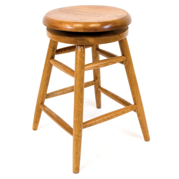 Solid Medium Oak Backless Saddle Swivel 24 Inch Counter Height Barstool