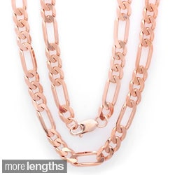 Sterling Essentials Italian Bronze with Rose Goldplated 8mm Diamond-cut Figaro Chain (22-30 inches)