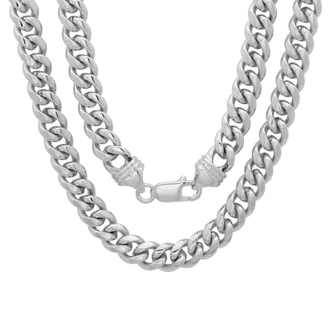 Rhodium Plated Brass 5.5mm Cuban Link Chain ( 22-30 inch)