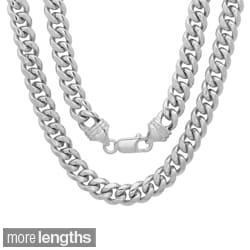 Sterling Essentials Bronze with Rhodium-plating 5.5mm Cuban Link Chain ( 22-30 inch)