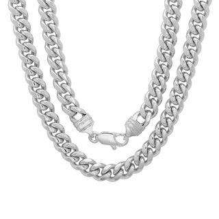 Sterling Essentials Bronze with Rhodium-plating 6.5mm Cuban Link Chain ( 22-30 inch)