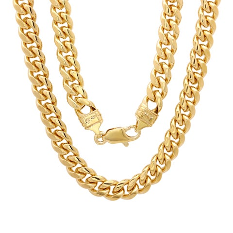 Yellow Gold Electroplated Brass 6.5mm Cuban Link Chain ( 22-30 inch)