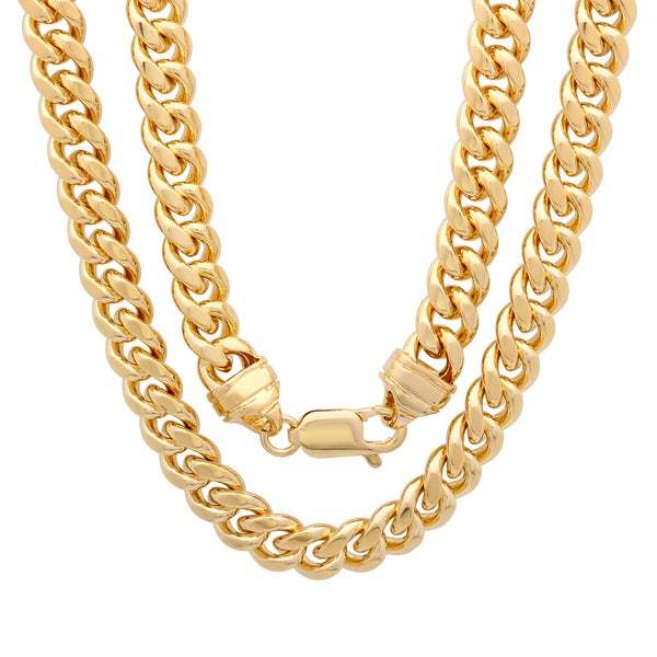 Yellow Gold Electroplated 7.5mm Brass Cuban Link Chain ( 22-30 inch)