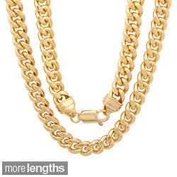 Sterling Essentials Goldplated Bronze Cuban Link Chain (22-30 Inch)|https://ak1.ostkcdn.com/images/products/7941928/Sterling-Essentials-14k-Gold-Overlay-9mm-Mens-Cuban-Link-Chain-22-30-inches-P15316554A.jpg?impolicy=medium
