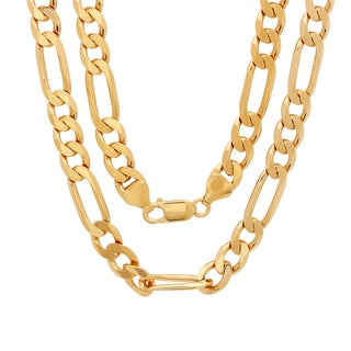 Sterling Essentials 14K Gold Overlay 8Mm Diamond-Cut Figaro Chain (22-30 Inches)