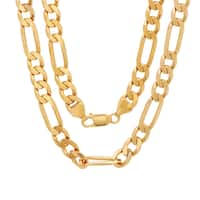 Yellow Gold Electroplated Brass 8mm Diamond-cut Figaro Chain (22-30 inches)