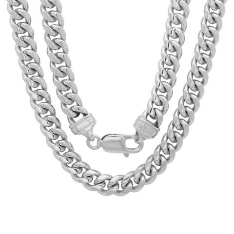 Rhodium Plated Brass 7.5mm Cuban Link Chain ( 22-30 inch)