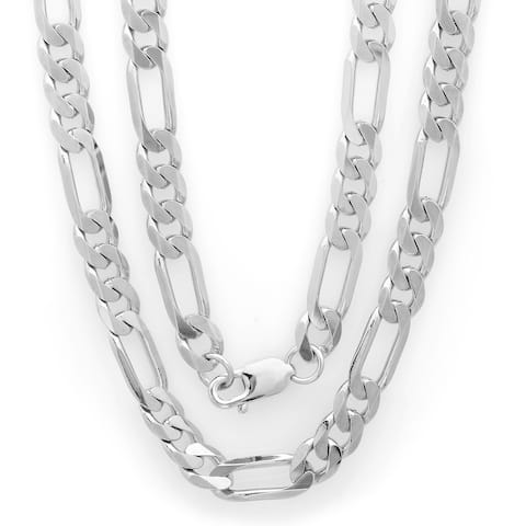 Italian Brass with Rhodium-plated 8mm Diamond-cut Figaro Chain (22-30 inches)