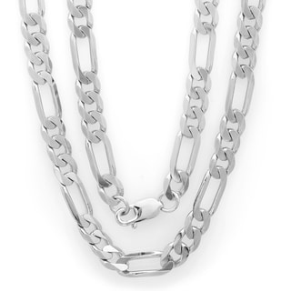 Sterling Essentials Italian Bronze with Rhodium-plated 8mm Diamond-cut Figaro Chain (22-30 inches)