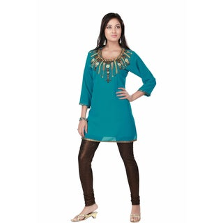Handmade Turquoise Fine Georgette Kurti Tunic (India)