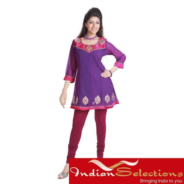 Handmade Purple Anarkali Style Georgette Kurti (India)