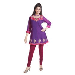 Handmade Purple Anarkali Style Georgette Kurti (India)