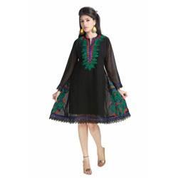 Handmade Black Micro Georgette Laces Kurti Tunic (India)