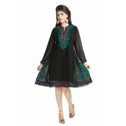 Handmade Black Micro Georgette Laces Kurti Tunic (India)