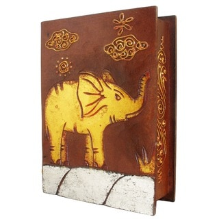 Handmade 10-Inch Elephant Book Style Box (Indonesia)