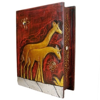 "Handmade 10"" Giraffe Book Box (Indonesia)"