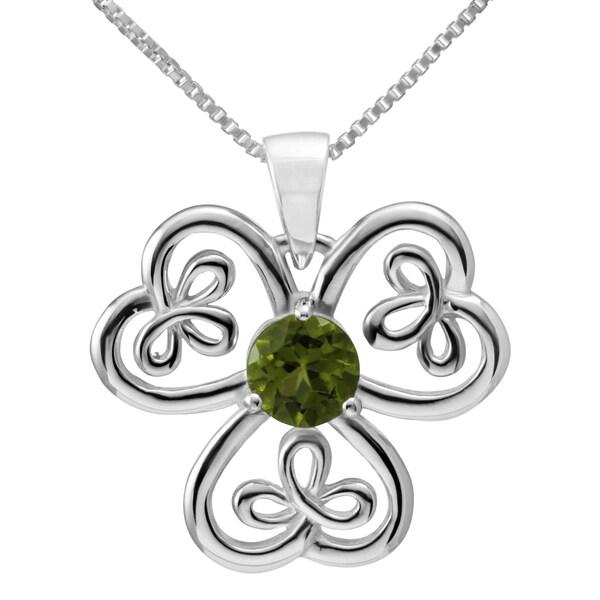 Handmade Sterling Silver 'Celtic Shamrock' Round Natural Peridot Gemstone Necklace (Thailand)