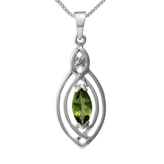 Handmade Sterling Silver 'Classic Celtic Knot' Marquise Natural Peridot Gemstone Necklace (Thailand)