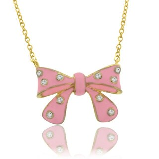 Molly and Emma 18k Gold Overlay Children's CZ and Enamel Bow Necklace (3 options available)