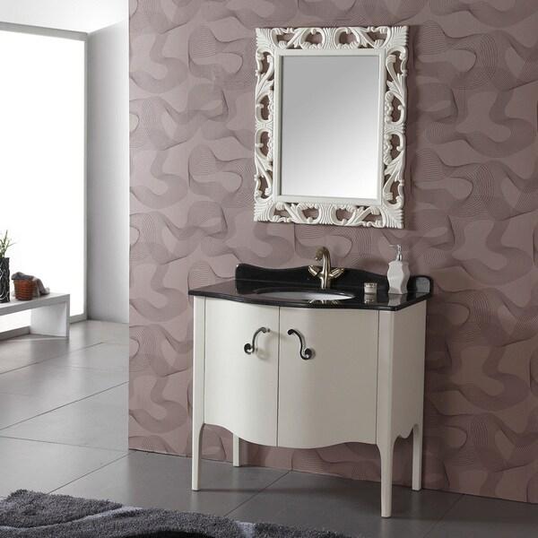 Granite Top Single White Bathroom Vanity With Mirror