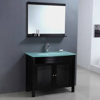 Modern Tempered Glass Top Single Sink Bathroom Vanity and Mirror