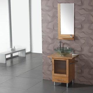 Natural Wood Top Single Vessel Bathroom Vanity with Mirror