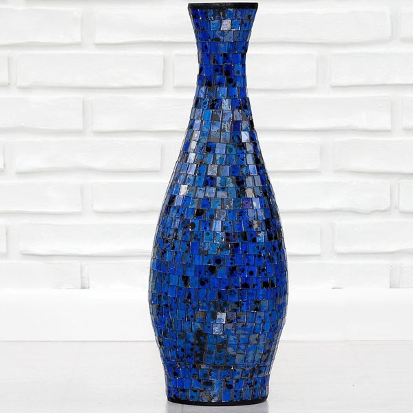 Handmade Ocean Blue Small Mosaic Decorative Vase