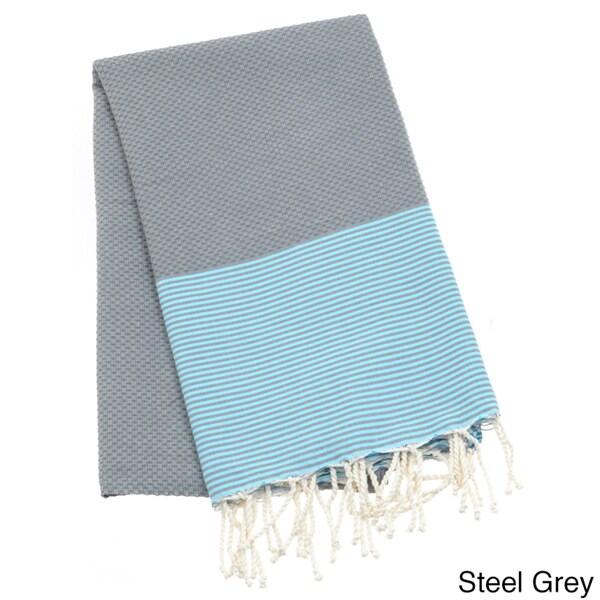 Authentic Fouta Natural Cotton Thin White Striped Beach Towel (Tunisia)