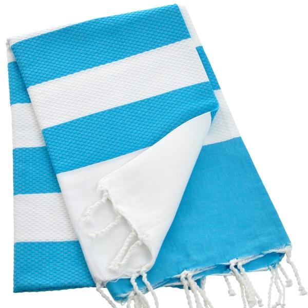 Authentic Fouta Natural Cotton Striped Bath & Beach Fringed Towel (Tunisia)