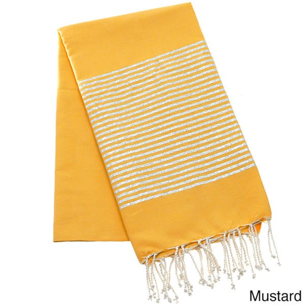 Authentic Fouta Natural Cotton Towel with Silver Lurex Stripes (Tunisia)