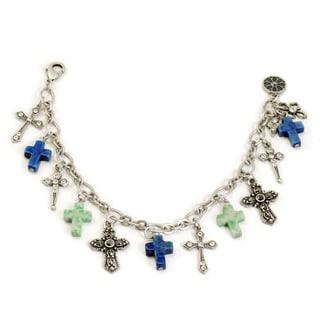 Sweet Romance Turquoise Cross Silver Charm Bracelet