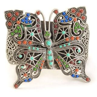 Sweet Romance Pewter Enamel Pierced Butterfly Cuff Bracelet
