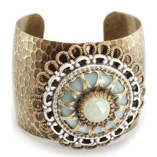 Sweet Romance Aragonite and Jade Gemstone Medallion Cuff Bracelet
