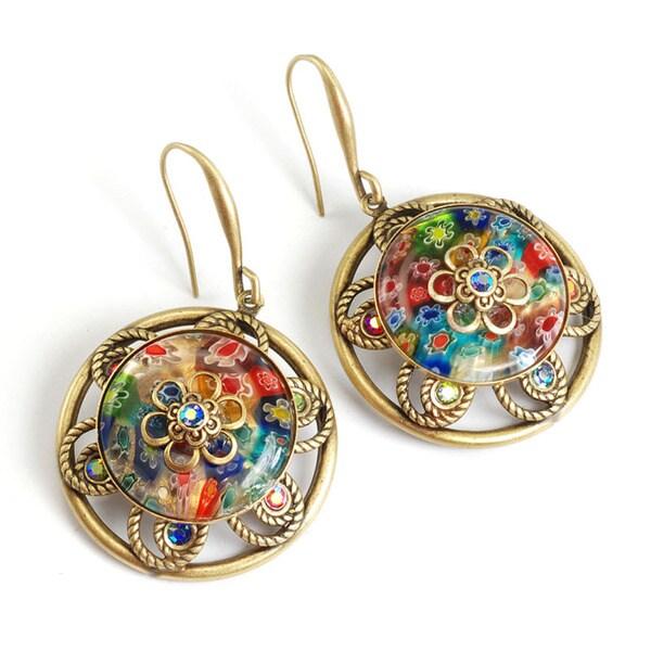 Sweet Romance Bronzetone Millefiori Citrus Flower Earrings