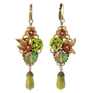 Sweet Romance Bronzetone Sage and Kiwi Glass Rose Earrings
