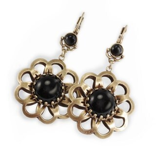 Sweet Romance Goldtone Black Glass Flower Earrings