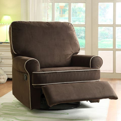 Ella Brown Fabric Nursery Swivel Glider Recliner Chair - 42 x 37 x 39