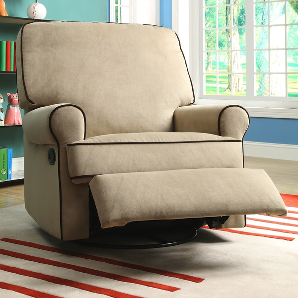 Chloe Sand Fabric Nursery Swivel Glider Recliner Chair