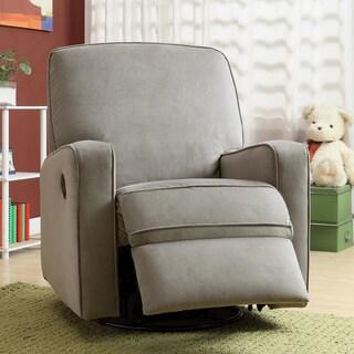 Great Colton Gray Fabric Modern Nursery Swivel Glider Recliner Chair