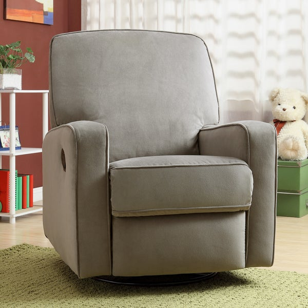 Colton Gray Fabric Modern Nursery Swivel Glider Recliner Chair - Free Shipping Today - Overstock.com - 15316567 & Colton Gray Fabric Modern Nursery Swivel Glider Recliner Chair ... islam-shia.org