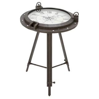 Casa Cortes Industrial Metal Round Clock Coffee Table
