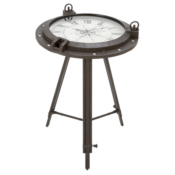 Casa Cortes Industrial Metal Round Clock Coffee Table Free Shipping Today