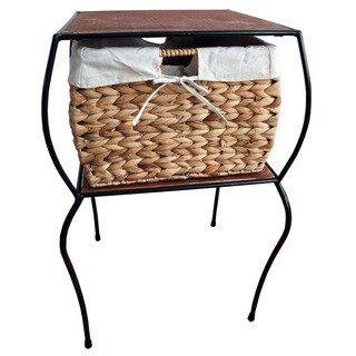 Iron Side Table with Wicker Basket