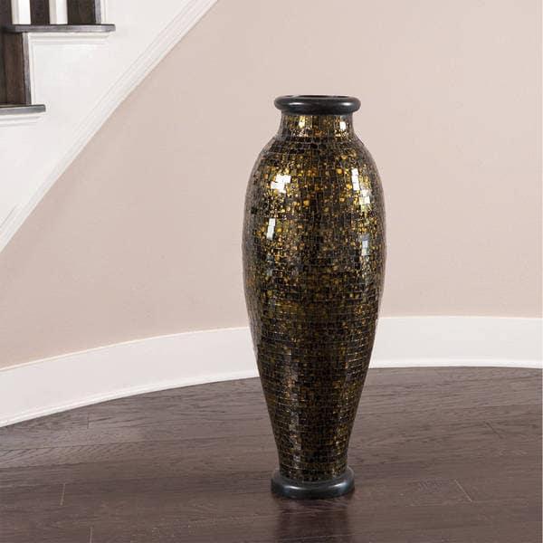 Shop Gold And Black Urn Mosaic Decorative Vase Indonesia Free