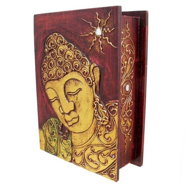 Gold Accented Handmade Buddha Book-Style Storage Box (Indonesia)