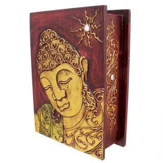 Gold Accented Handmade Buddha Book-Style Storage Box (Indonesia)