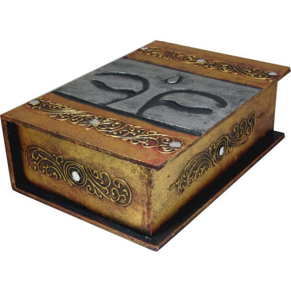 Gold and Silver Accent Wooden Book-Style Buddha Eyes Box (Indonesia)