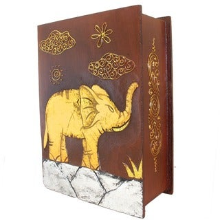 Handmade 13-Inch Carved Elephant Book Style Box (Indonesia)