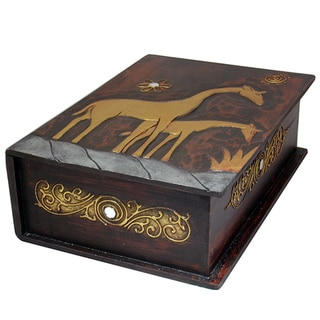 13-Inch Carved Giraffe Book Style Box (Indonesia)