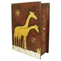 Handmade 13-Inch Carved Giraffe Book Style Box (Indonesia)